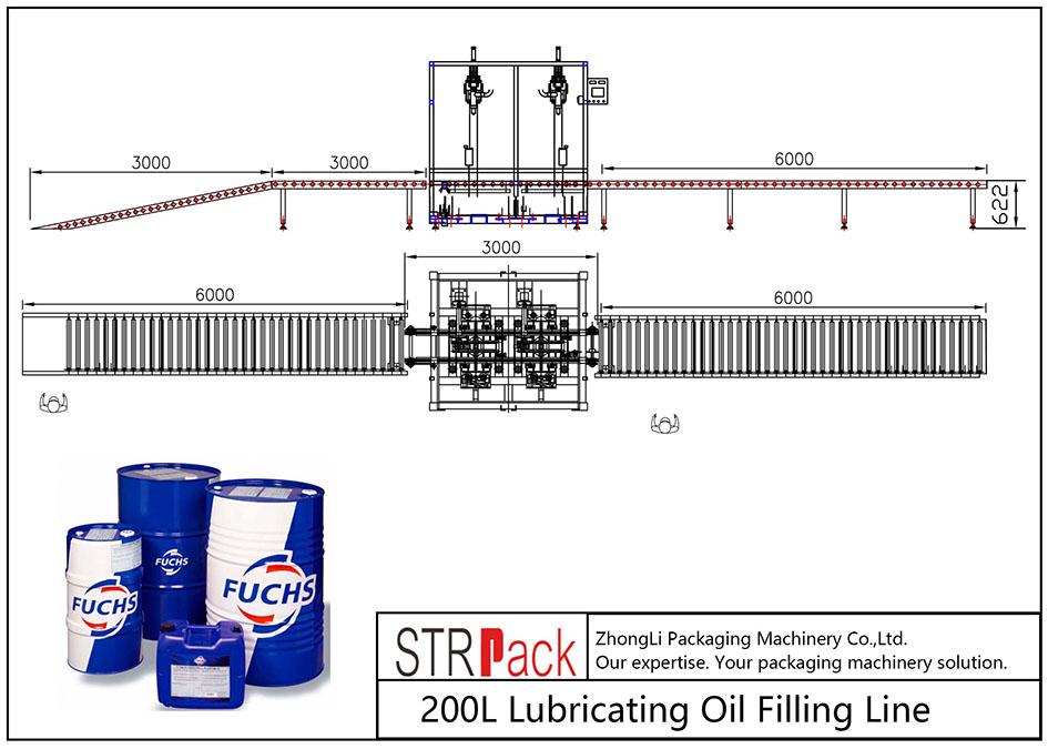 Garis Pengisi Minyak Lubricating 200L otomatis