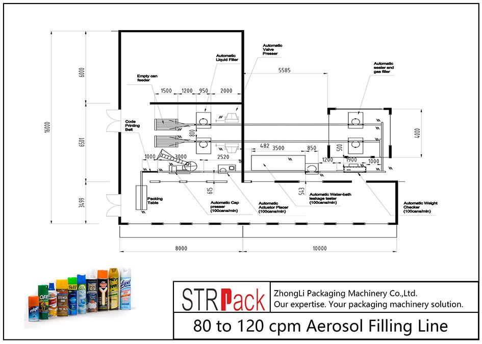 80 kanggo 120 cube Line Pengisi Aerosol